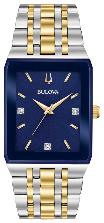 Two Tone Square Blue Face Buloba Watch