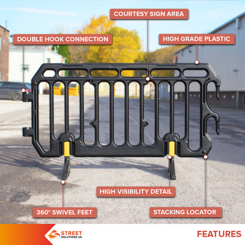 crowd control pedestrian safety metal plastic barrier fencing event festival football marathon high visibility safety
