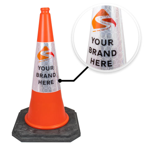 Branded Road Cone Sticker Reflective Sleeve