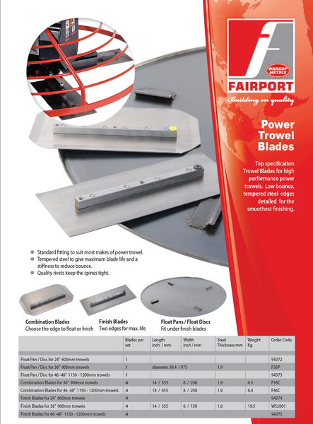 Fairport Power Trowel Blades