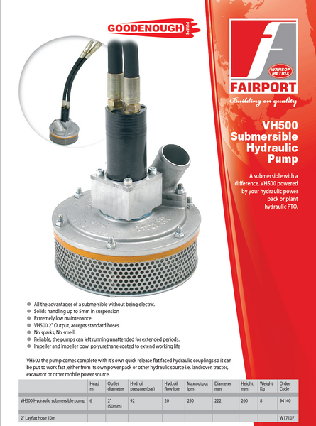 VH500 Hydraulic Submersible Pump