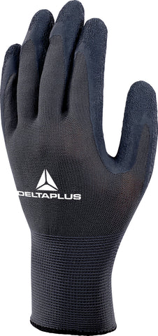 Delta Plus VE630 Safety Gloves Black / Grey Grip Latex Coated - 12 x Pairs
