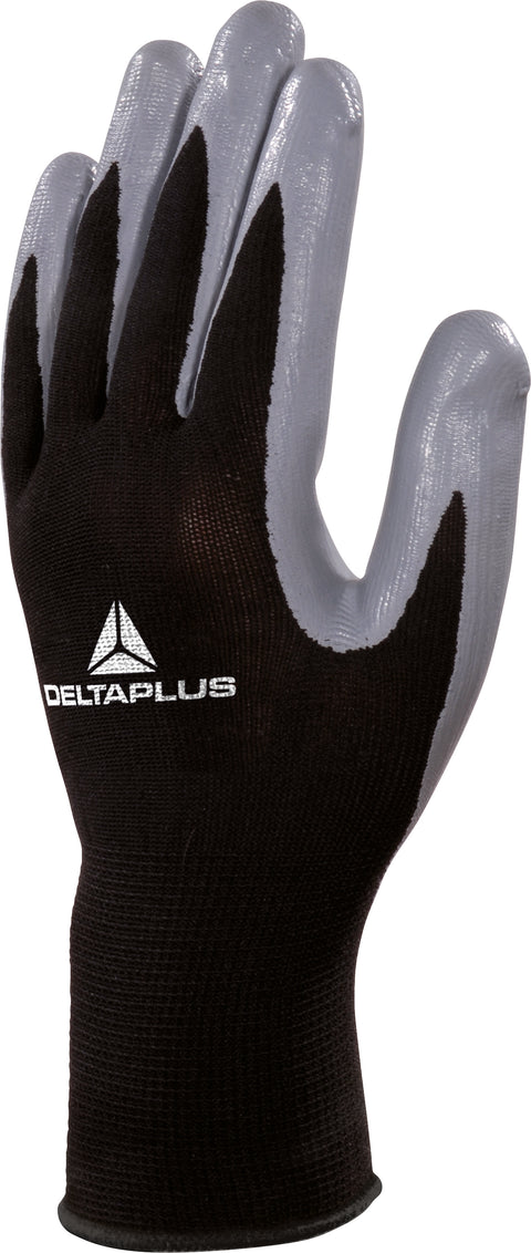Delta Plus VE712GR Nitrile Palm Coated Knitwrist Safety Gloves - 12 x Pairs