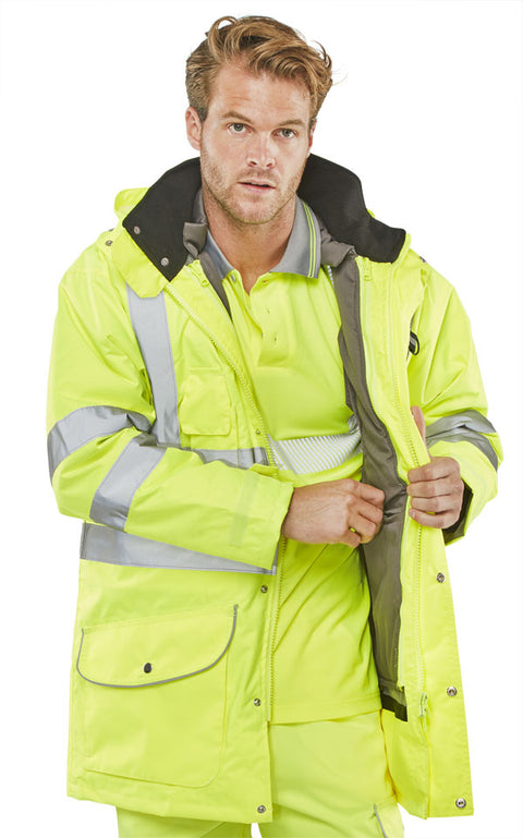 Beeseen Hi Vis 7-in-1 Waterproof Jacket Yellow