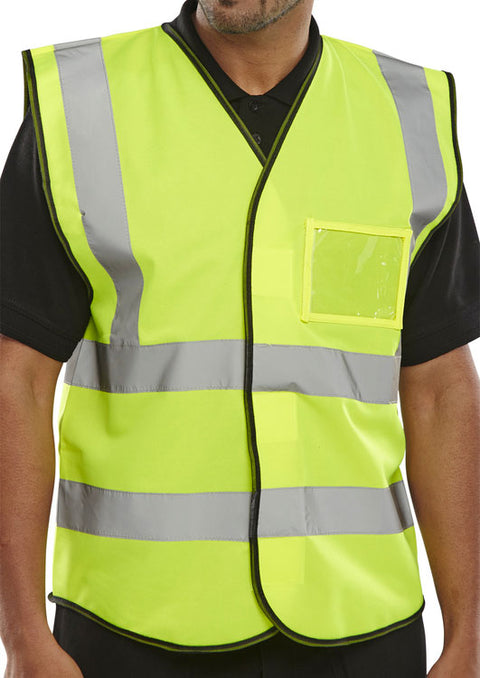 Hi-Vis Vest with ID Pocket Yellow - Pack of 10