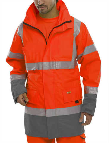 Beeseen Hi Vis Waterproof Traffic Jacket - Orange