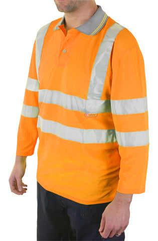 Beeseen Hi-Vis 3/4 Sleeve Polo Shirt Orange