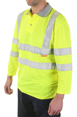 Beeseen Hi-Vis 3/4 Sleeve Polo Shirt Yellow