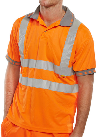 Beeseen Hi-Vis Short Sleeved Polo Shirt Orange