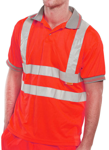 Beeseen Hi-Vis Short Sleeved Polo Shirt Red