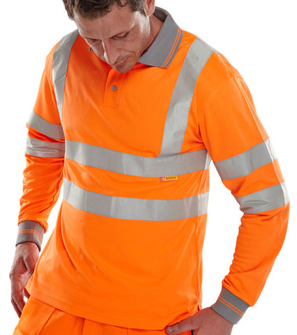 Beeseen Hi-Vis Long Sleeved Polo Shirt Orange