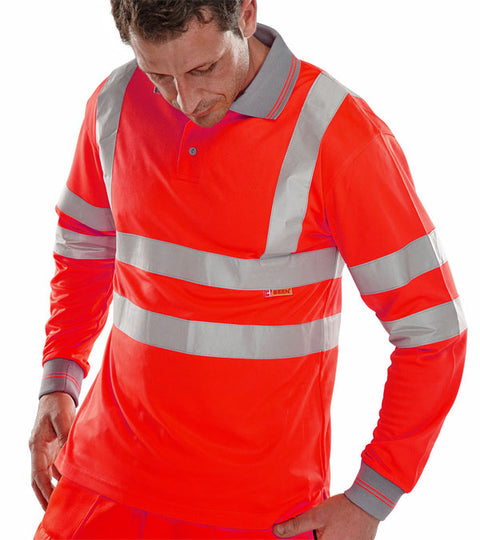 Beeseen Hi-Vis Long Sleeved Polo Shirt Red