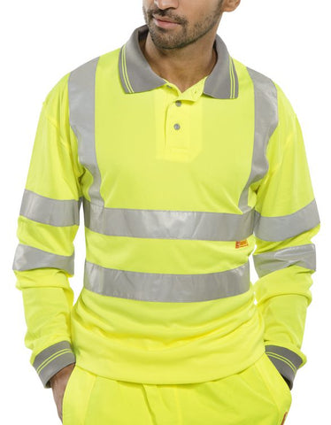 Beeseen Hi-Vis Long Sleeved Polo Shirt Yellow