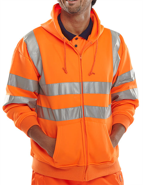 Beeseen Hi-Vis Hooded Zipped Sweatshirt - Orange