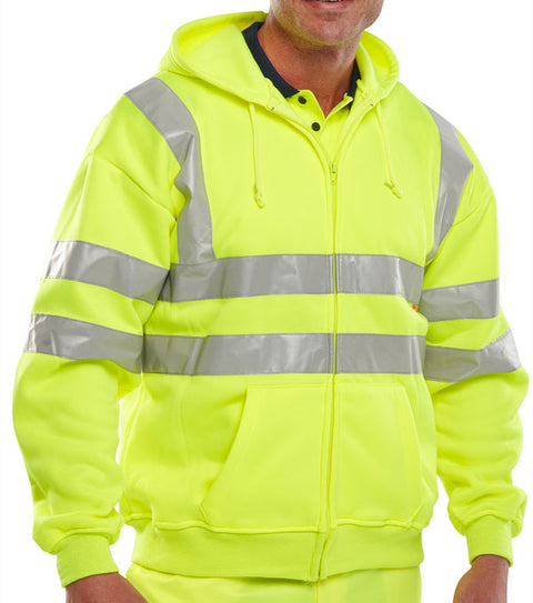 Beeseen Hi-Vis Hooded Zipped Sweatshirt - Yellow