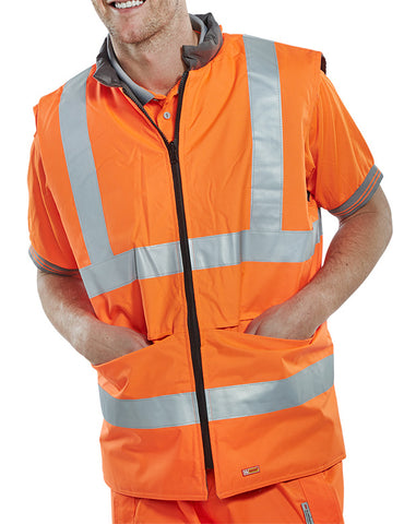 "Beeseen Reversible Hi-Vis ""interactive"" Bodywarmer Orange"