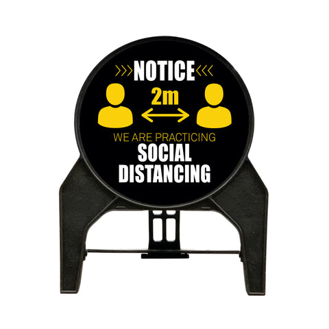 'NOTICE WE ARE PRACTICING SOCIAL DISTANCING' Circle Freestanding Sign - Black