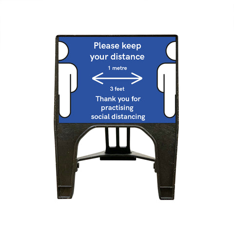 """Please keep your distance"" 1 Metre - Small Blue Freestanding Sign"