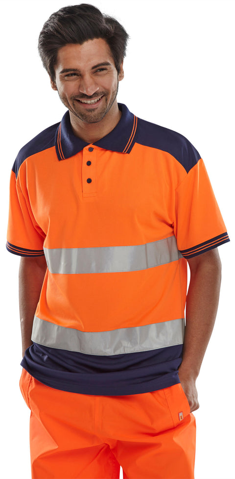 "Beeseen Short Sleeved ""Two tone"" Hi Vis Polo Shirt - Orange & Navy"