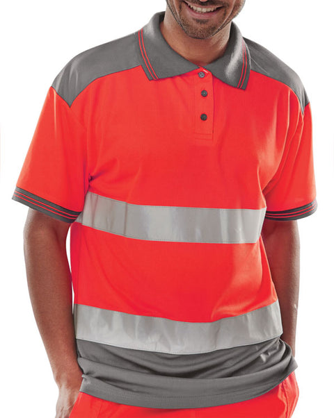 "Beeseen Short Sleeved ""Two tone"" Hi Vis Polo Shirt - Red & Grey"