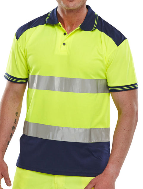 "Beeseen Short Sleeved ""Two tone"" Hi Vis Polo Shirt - Yellow & Navy"