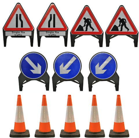 Traffic Management Signs & Cones Kit: Single File Road Works