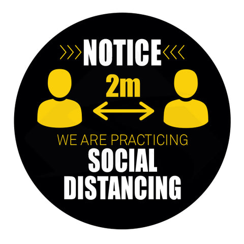 We are practicing social distancing sticker sign