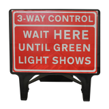 3 Way Control 1050x750mm Road Sign