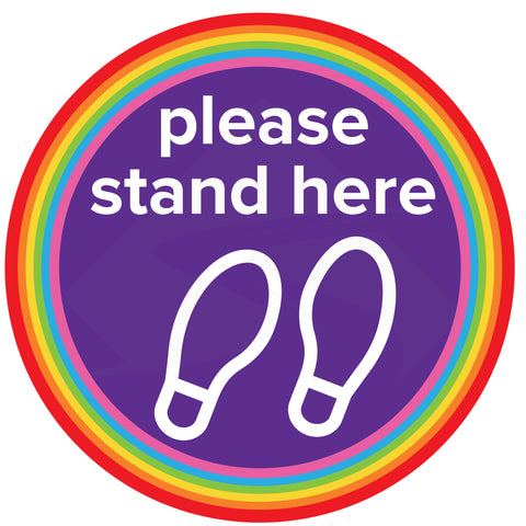 "Multi-coloured Nursery School ""Please stand here"" Social Distancing Floor Stickers."