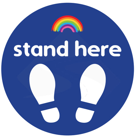 "Blue coloured Nursery School ""stand here"" Social Distancing Floor Stickers."