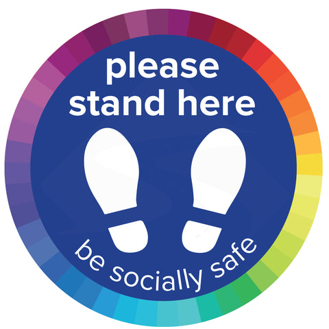 "Multi-coloured ""please stand here"" Primary School Social Distancing Floor Stickers."