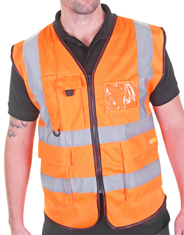 Premium Hi-Vis Vest with ID Pocket Orange