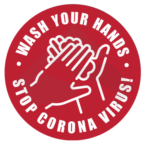 wash your hands stop corona virus sticker sign