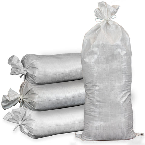 Stake of Ready Filled Sand Bags White Polypropylene.