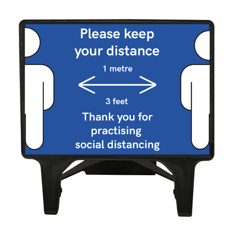 """Please keep your distance 1 Metre"" Large Blue Freestanding Sign"