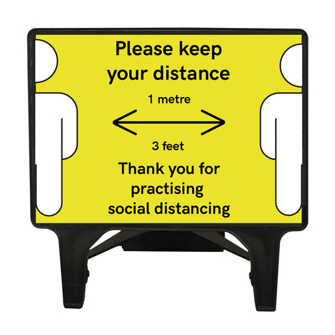 """Please keep your distance 1 Metre"" Yellow Freestanding Sign front view."