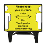 """Please keep your distance 1 Metre"" Large Yellow Freestanding Sign"