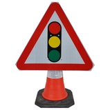 Traffic Lights Ahead 750mm Triangle Hangman Sign (Single Cone) 543