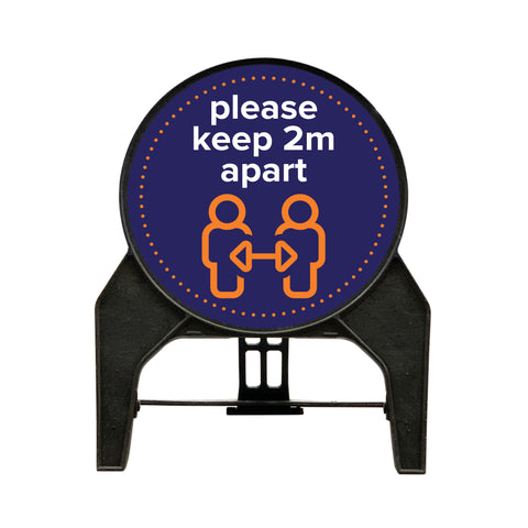 "Social Distancing ""please keep 2m apart"" Circle Freestanding Sign - Blue"