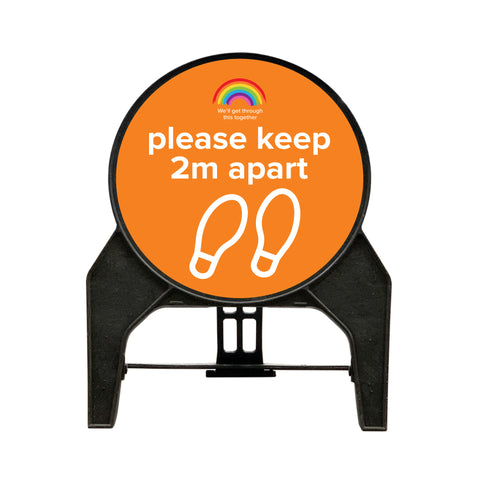 "Social Distancing ""please keep 2m apart"" Circle Freestanding Sign - Orange"