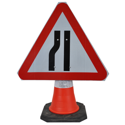 Road Narrows Left 750mm Triangle Hangman Sign (Single Cone) 517