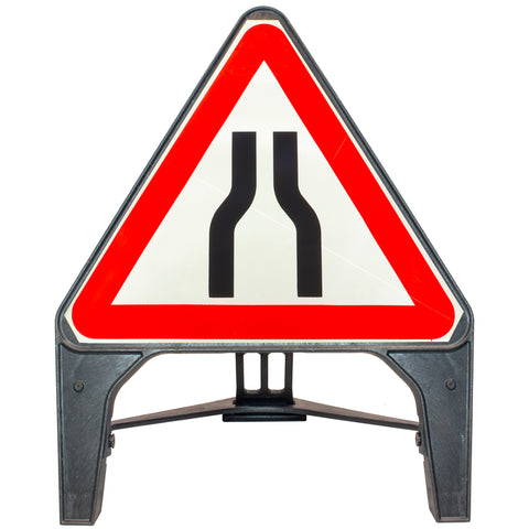 Road Narrows Both 750mm Q-Sign 516