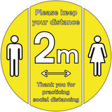 """Please keep your distance"" Small Freestanding Sign Bundle with Floor Stickers"