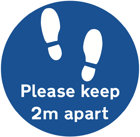 Please keep 2m apart blue Floor Sticker