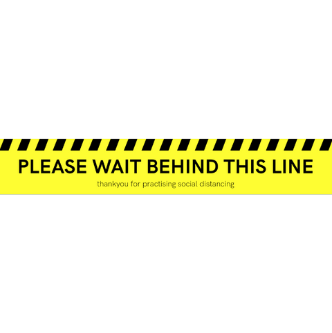 """PLEASE WAIT BEHIND THIS LINE"" Floor Sticker - Yellow"