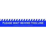 """PLEASE WAIT BEHIND THIS LINE"" Floor Sticker - Blue"