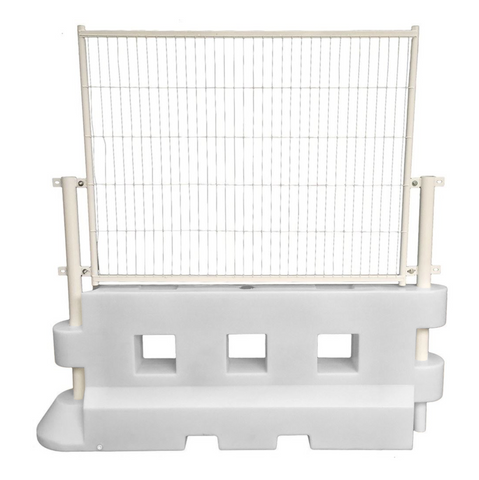 Mesh Fencing Panel connected to GB2 Safety Barrier in white.