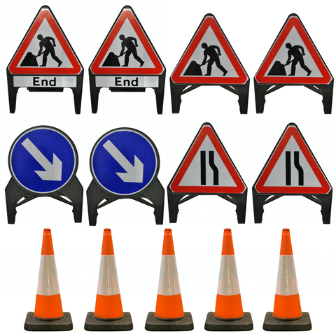 Traffic Management Signs & Cones Kit: Centre works in 2-way road