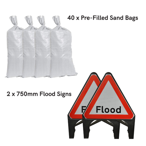Sand Bags and Flood Traffic Sign Kit - Essential (40 x Bags)