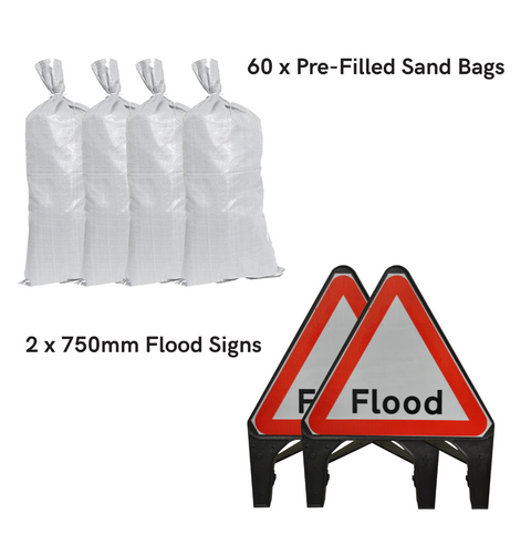 Sand Bags and Flood Traffic Sign Kit - Essential (60 x Bags)